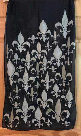 Scarf-Black and Gold Fleur de lis