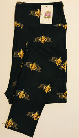 "Leggings BLACK AND GOLD  ""Football Time"""