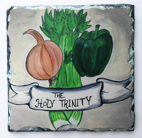 "Natural Slate Trivet New Orleans ""Cajun Holy Trinity"""