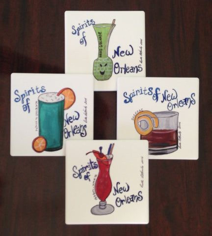 Absorbant Sandstone Coasters  Spirits of New Orleans