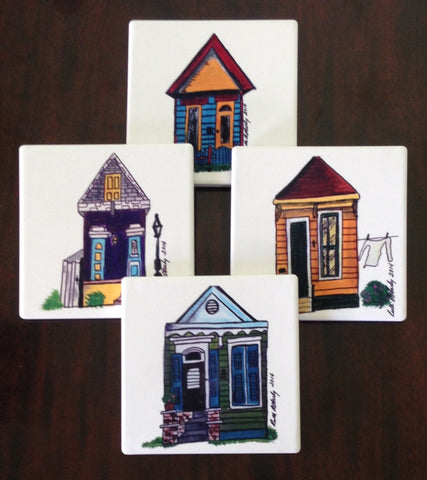Absorbant Sandstone Coasters  Shades of New Orleans