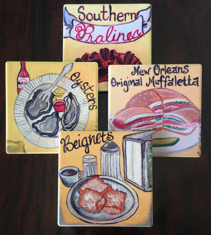 Absorbant Sandstone Coasters  New Orleans Food