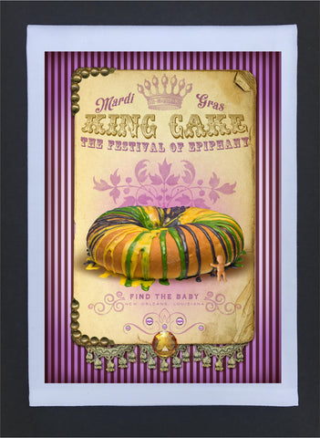 New Orleans Culture Tea Towel Mardi Gras King Cake