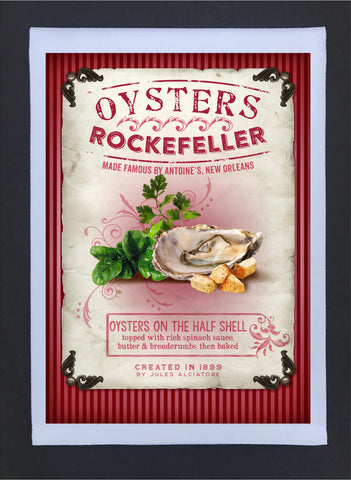 New Orleans Culture Tea Towel Oysters Rockfeller