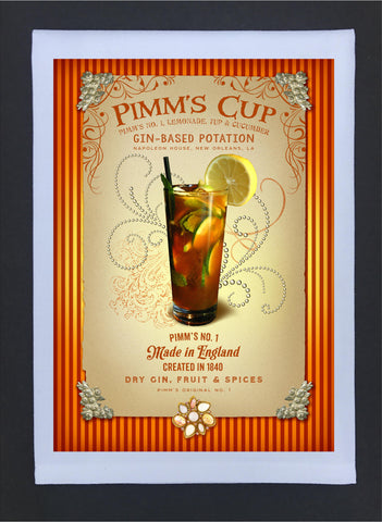 2017 New Orleans Culture Tea Towel Pimm's Cup