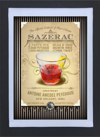 New Orleans Culture Tea Towel Sazerac