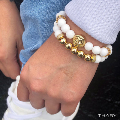 Men's White & Gold Royal Lion King Stack