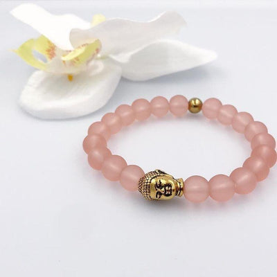 Women's Gold Beaded Bracelet Buddha with Matte Pink