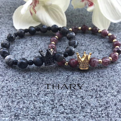 Couple's Royalty King & Queen Crown Bracelets