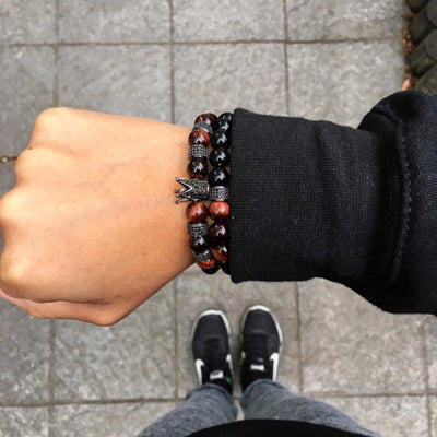 Men's Black Crown Stack Beaded Bracelets with Red Tiger Eye