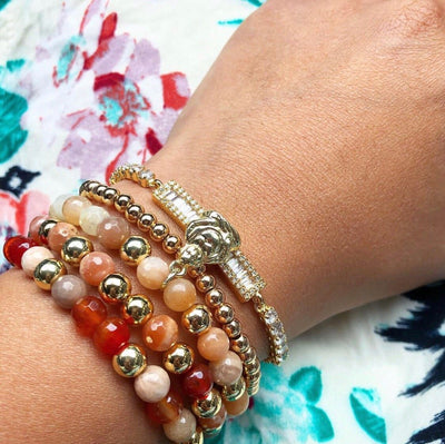 Women's Gold Beaded Bracelets Buddha with Peach Moonstones and Ruby