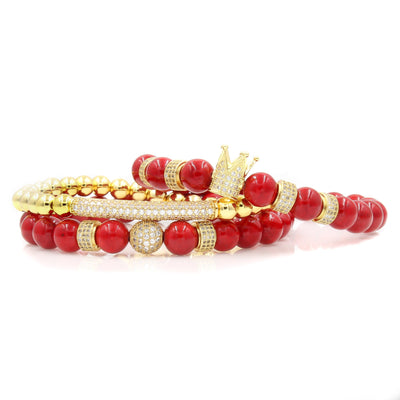 Men's Gold Red Royalty Stack with Red Coral