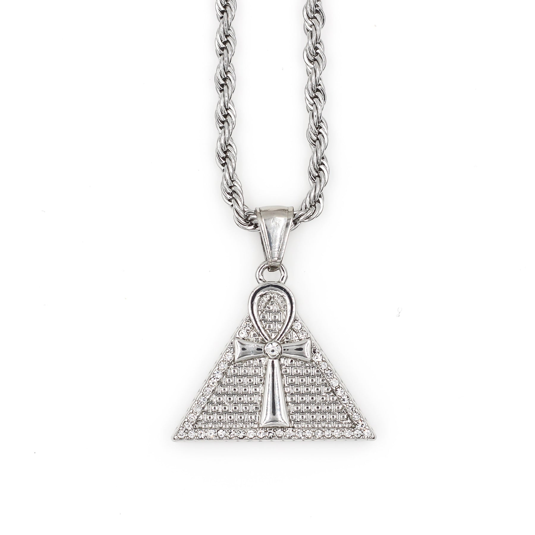 Silver necklace with ankh pyramid pendant mens silver necklace with ankh pyramid pendant aloadofball Choice Image