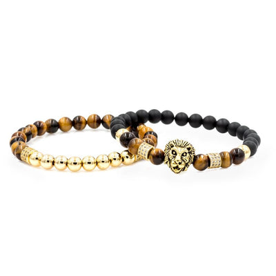 Men's Gold Lion Stack with Matte Black and Tiger Eye