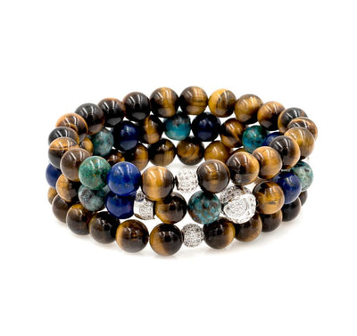 Silver Beaded Bracelets with Tiger Eye, Lapis Lazuli and Chrysocolla