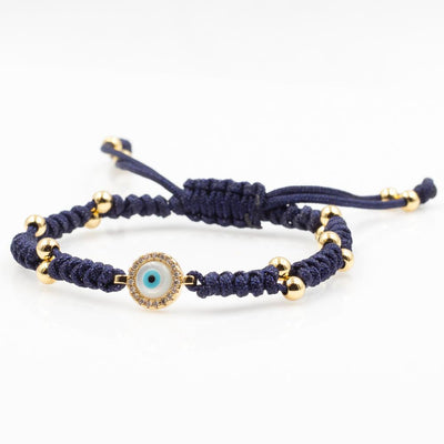 Gold Evil Eye Charm Navy Blue Bracelet