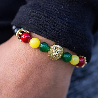 Men's Gold Rasta Lion Beaded Bracelet with Matte Onyx, Green Jade, Yellow Jade, and Red Jade