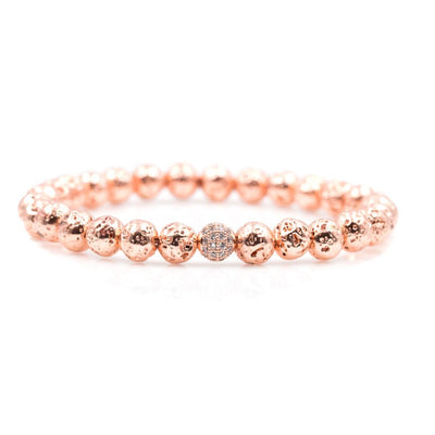 Rose Gold Beaded Bracelet with Lava Stones