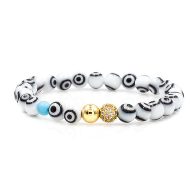 Women's Gold Evil Eye Bead Bracelet with White Evil Eye