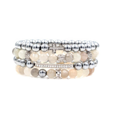 Women's Silver Cross Beaded Bracelet Stack with Faceted Moonstones