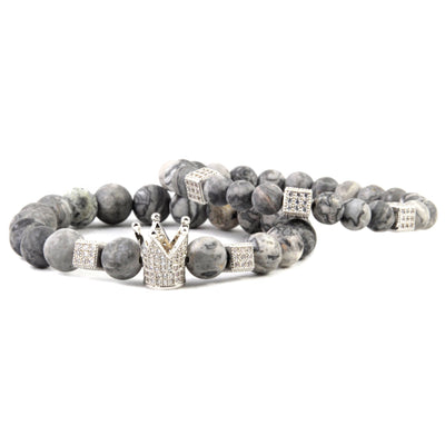 Men's Silver Beaded Bracelet Crown with Grey Jasper