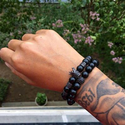 Men's Black Beaded Bracelets Crown with Matte Onyx