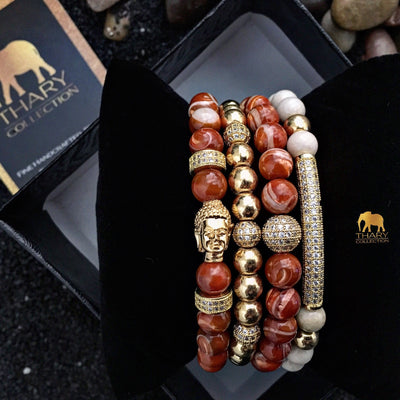 Women's Gold Buddha Stacked Bracelet with Orange Moonstone