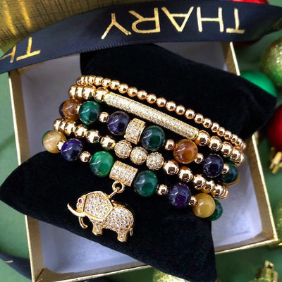 Women's Beaded Bracelet Elephant with Purple Tiger Eye, Green Tiger Eye and Yellow Tiger Eye