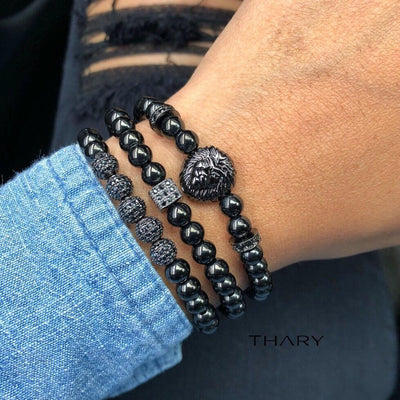 Men's Black Beaded Bracelets with Lion Stack with Black Gunmetal