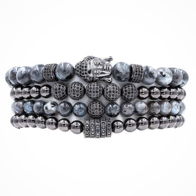 Men's Black Buddha Stack with Black Labradorite