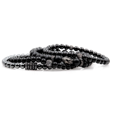 Men's Black Beaded Bracelets Buddha with Matte Onyx and Black Gunmetal