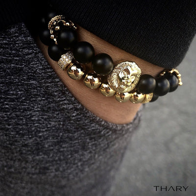 Men's Black & Gold Royal Lion King Stack