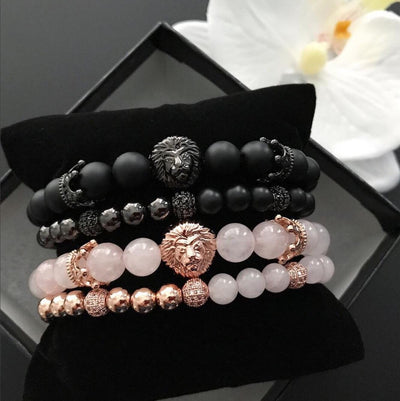 His Beauty and Her Beast with Matte Onyx and Rose Quartz