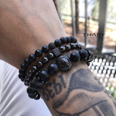 Men's Black Beaded Bracelet Lion Stack with Matte Onyx and Black Gunmental
