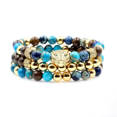 Men's Leopard Beaded Stack with Bali Turquoise, Bronzite, and Blue Mosaic
