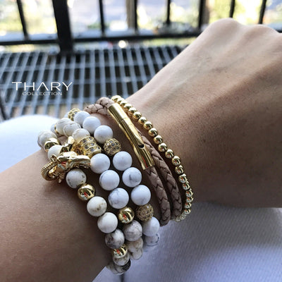 Women's Gold Beaded Bracelets Elephant Stack with White Howlite