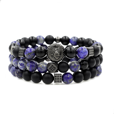 Men's Lion Beaded Stack with Matte Onyx and Lapis Lazuli
