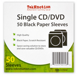TekNmotion SINGLE CD/DVD 50 BLACK PAPER SLEEVES