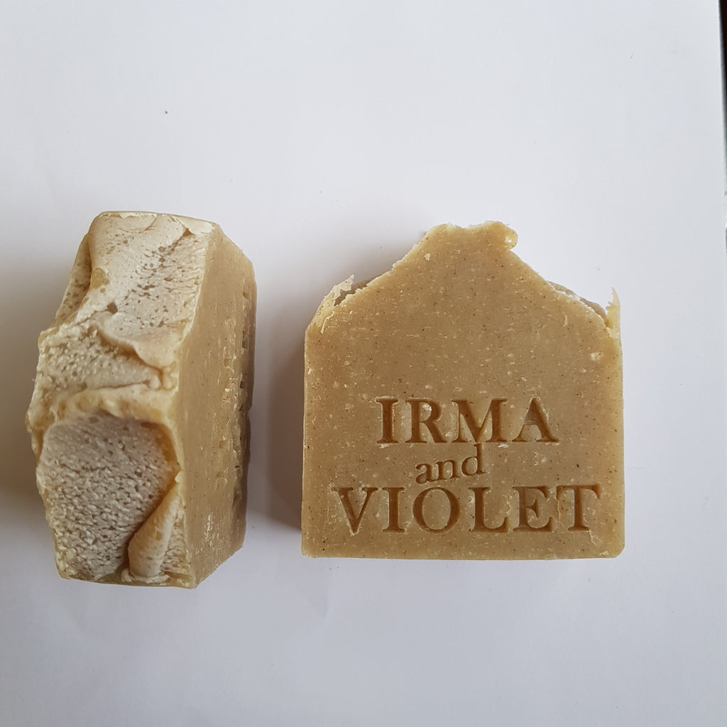 Frankincense and Patchouli soap, blended with rhassoul clay. Handmade by IRMA and VIOLET