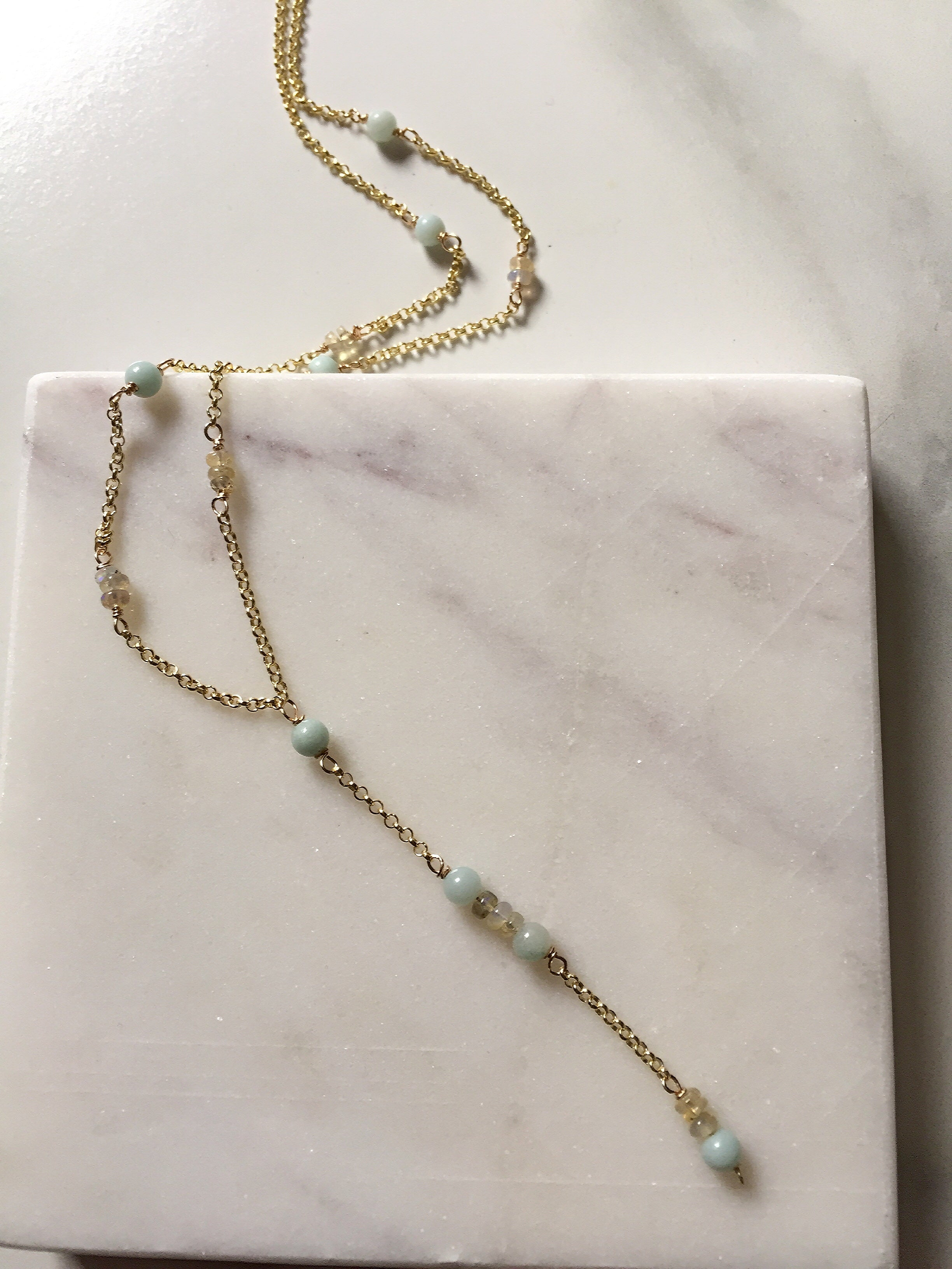 Lariat with Gemstones + Opal