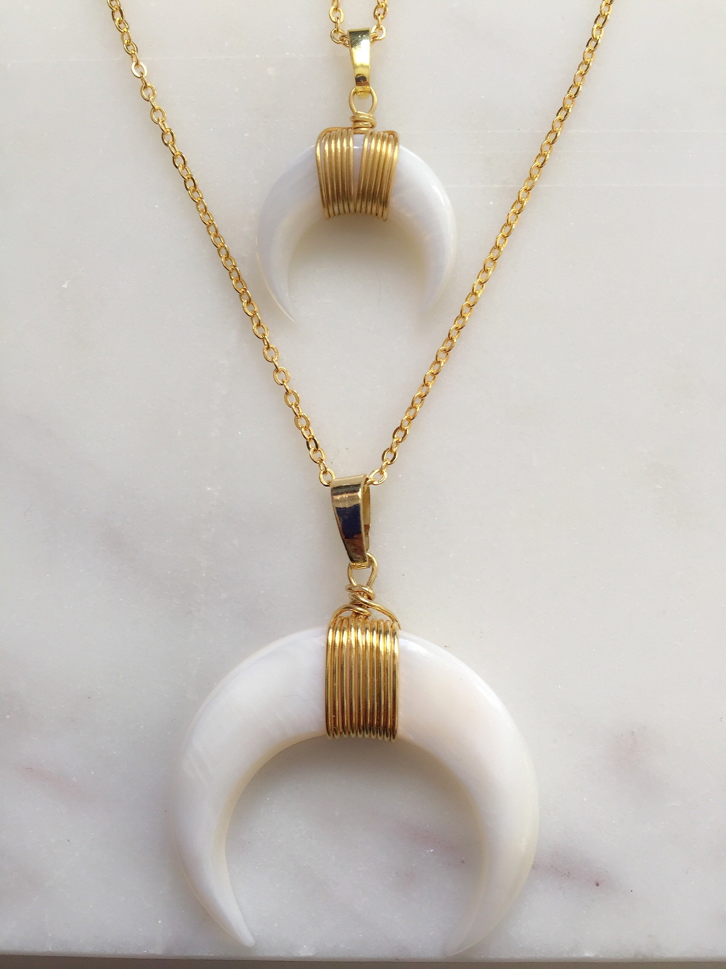 White Crescent Shell Necklace