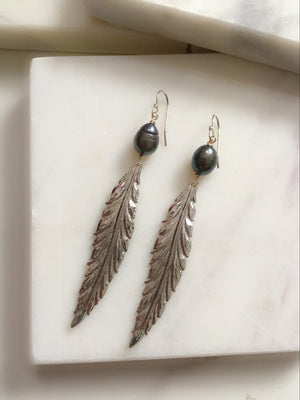 Black Pearl + Leaf Earrings