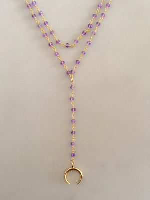 Double Horn + Layer Amethyst Chain Necklace