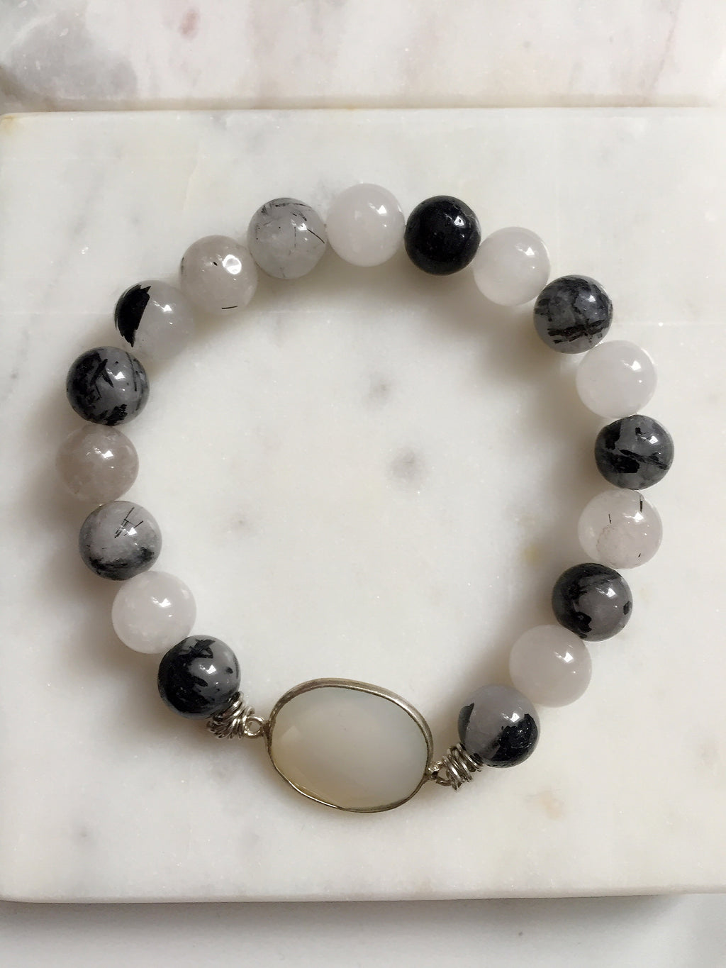 Rutiled Quartz + Moonstone Bracelet