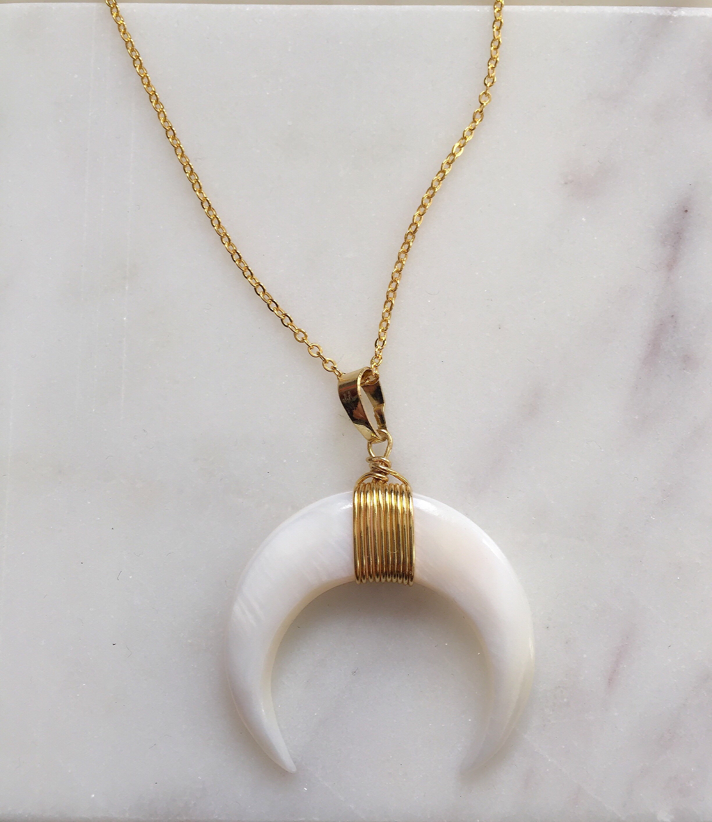 Crescent White Shell Necklace + Large Horn