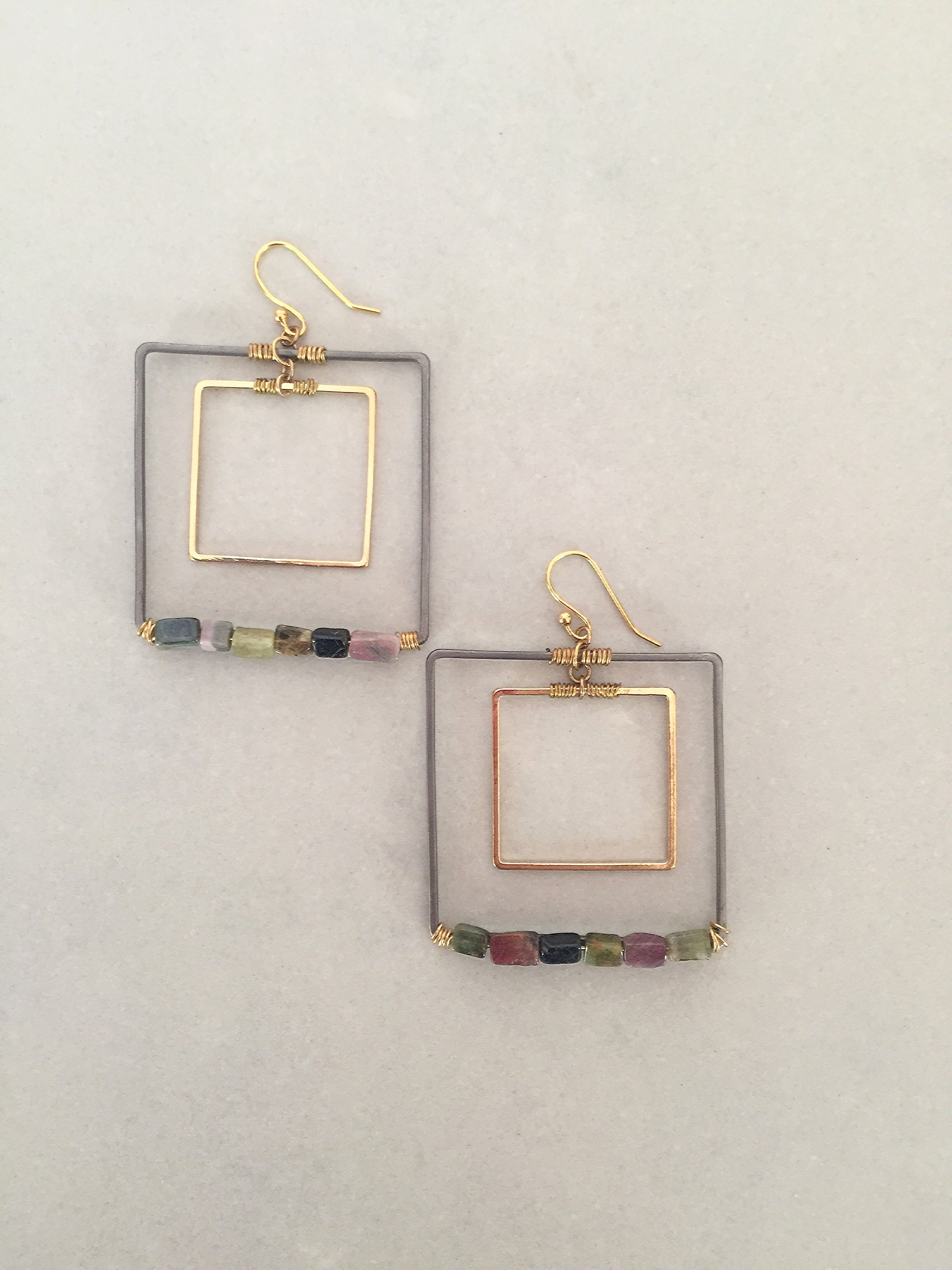 Tourmaline Squares  Earrings