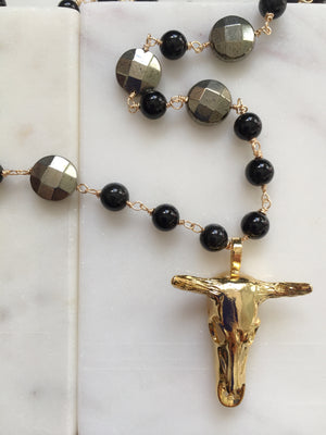 Onyx + Pyrite + Bull Skull Necklace