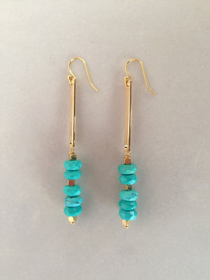 Turquoise Long Bar Earrings
