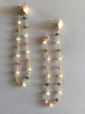 Tourmaline Chain + Stud Earrings