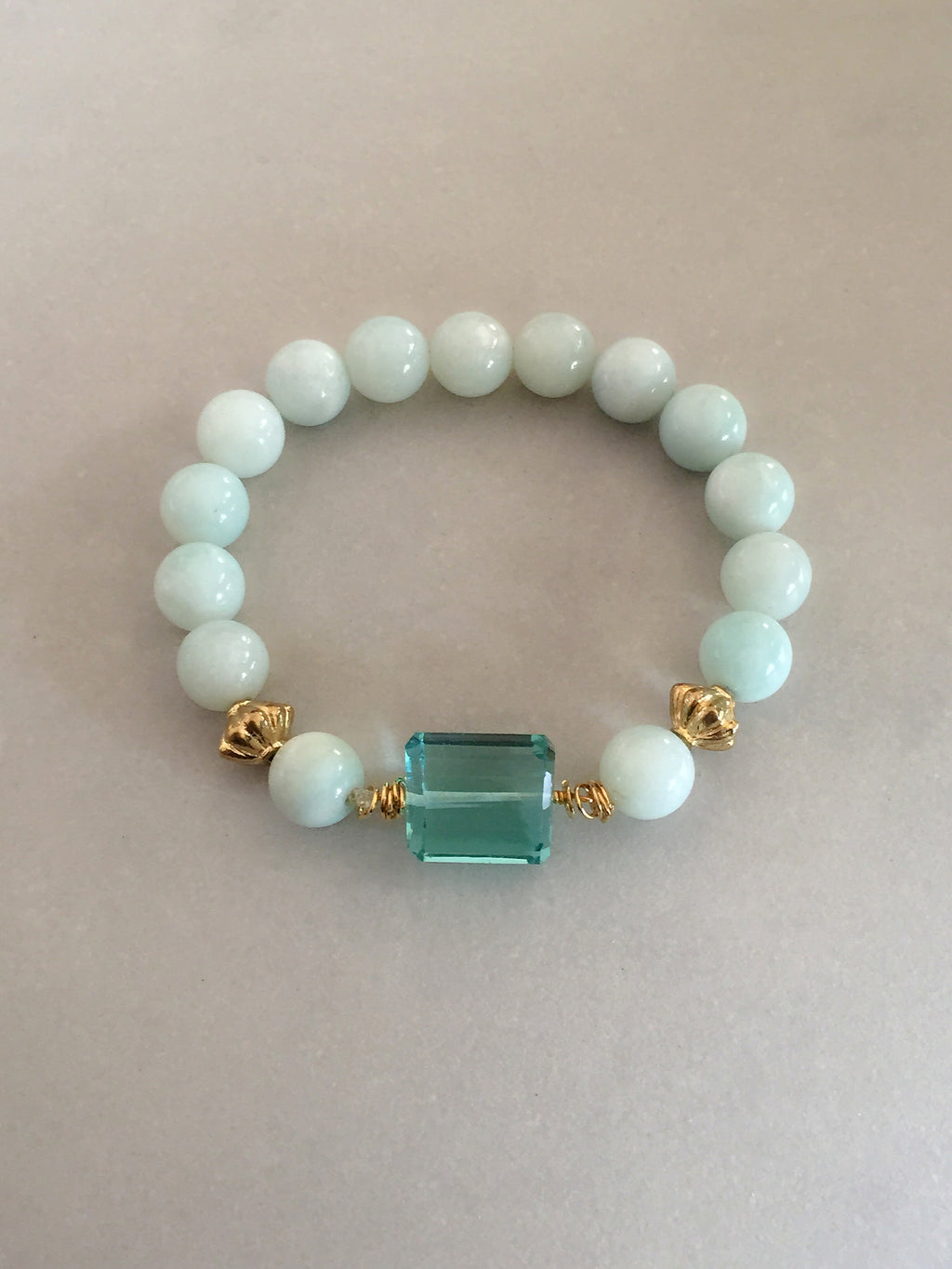 Aquamarine Crystal + Amazonite Bracelet